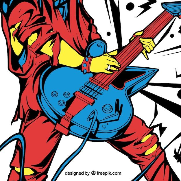 Bunte hintergrund der schweren gitarrist Kostenlosen Vektoren