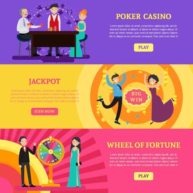Bunte horizontale kasino-banner Kostenlosen Vektoren