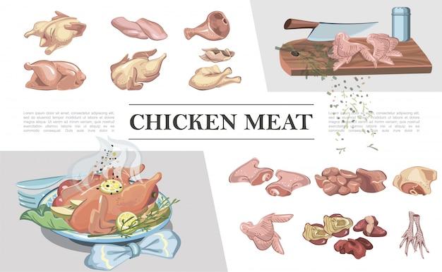 Bunte hühnerfleischzusammensetzung mit beinen brustfüße schinkenflügelfilet oberschenkelherzlebermesser auf schneidebrett gebratenes huhn Kostenlosen Vektoren