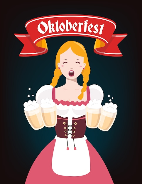 Bunte illustration der deutschen mädchenkellnerin in der traditionellen kleidung, die gelbe bierkrüge, rotes band, text auf dunklem hintergrund hält. oktoberfest und begrüßung. Premium Vektoren