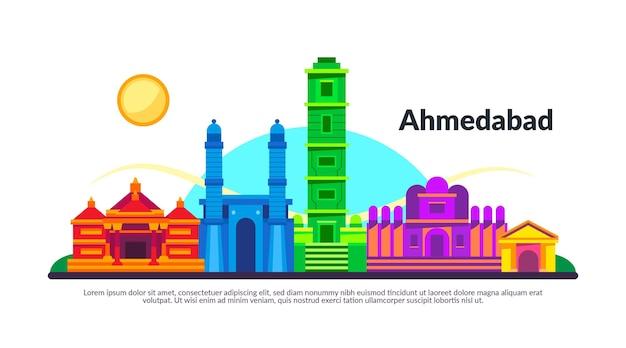 Bunte illustration der skyline von ahmedabad Kostenlosen Vektoren