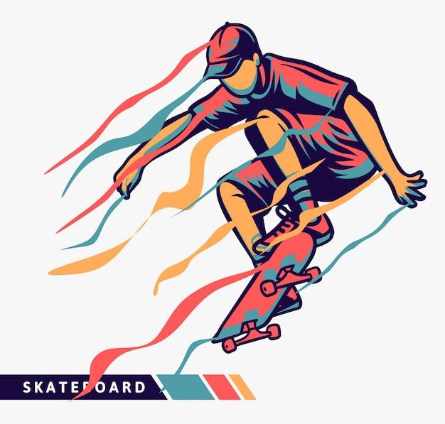 Bunte illustration des skateboardfahrers mit bewegungseffekt Premium Vektoren