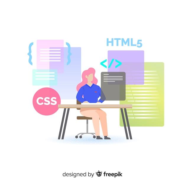 Bunte illustration des weiblichen programmierers ihre arbeit erledigend Kostenlosen Vektoren