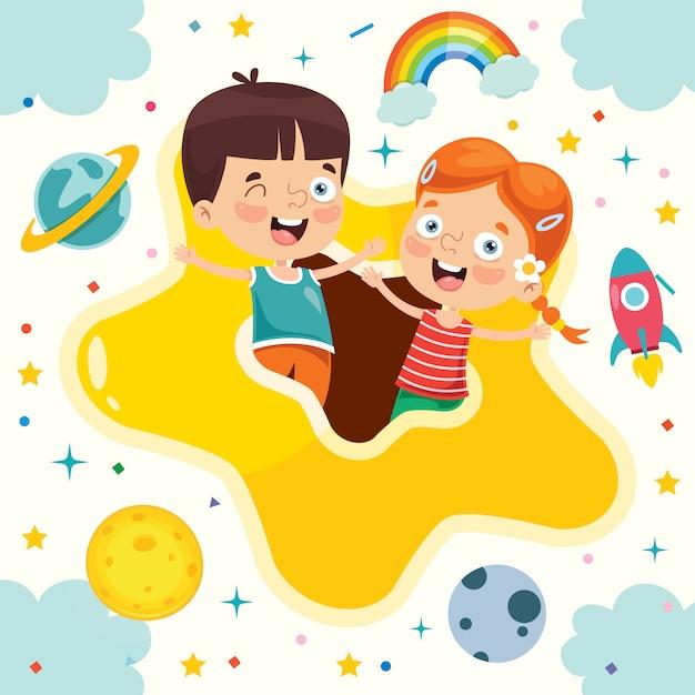 Bunte illustration für glücklichen kindertag Premium Vektoren