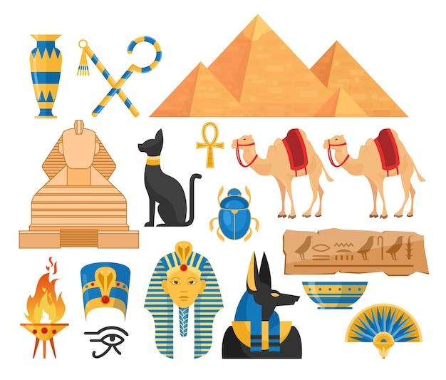 Bunte illustrationen des alten ägyptenkarikaturensatzes. sammlung ägyptischer symbole isoliert Premium Vektoren