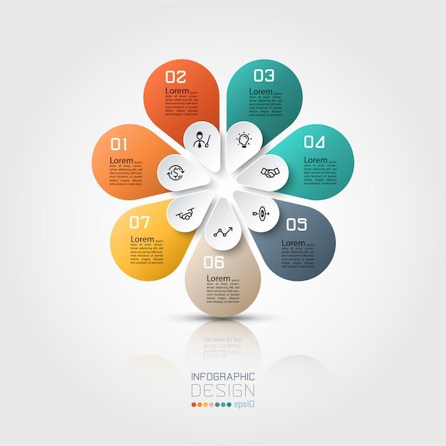 Bunte infografik 7 optionen mit ovaler form im kreis. Premium Vektoren