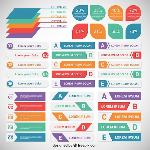 Bunte infografik etiketten Premium Vektoren
