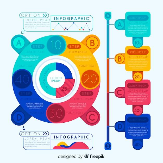 Bunte infografik mit optionen Kostenlosen Vektoren