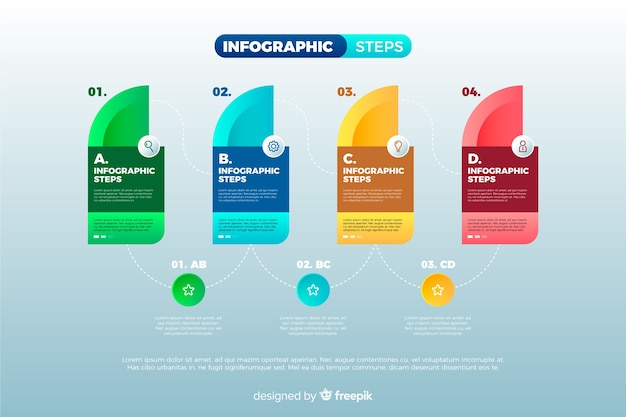 Bunte infografiken schritt sammlung Kostenlosen Vektoren