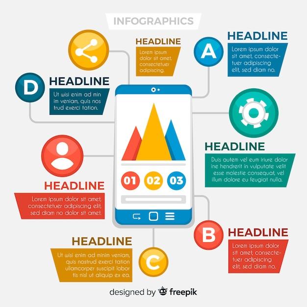 Bunte infografiken vorlage Kostenlosen Vektoren
