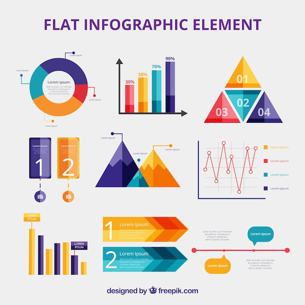 Bunte infographic elementansammlung in der flachen art Kostenlosen Vektoren