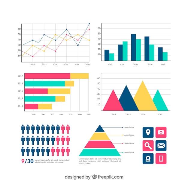 Bunte infographic elementansammlung in der flachen art Premium Vektoren