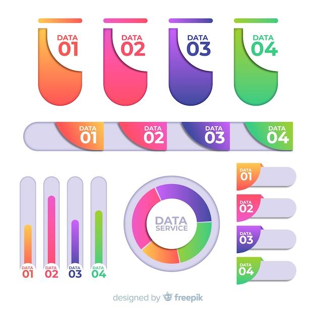 Bunte infographic elemente mit steigungseffekt Kostenlosen Vektoren