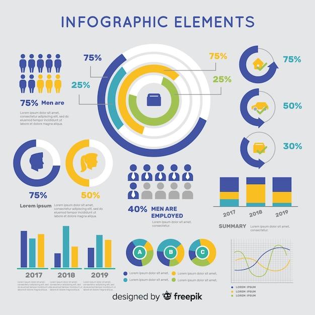 Bunte infographic schablone des flachen designs Kostenlosen Vektoren
