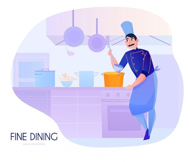 Bunte karikaturzusammensetzung mit verkostungssuppe des männlichen kochs in der restaurantküche Kostenlosen Vektoren