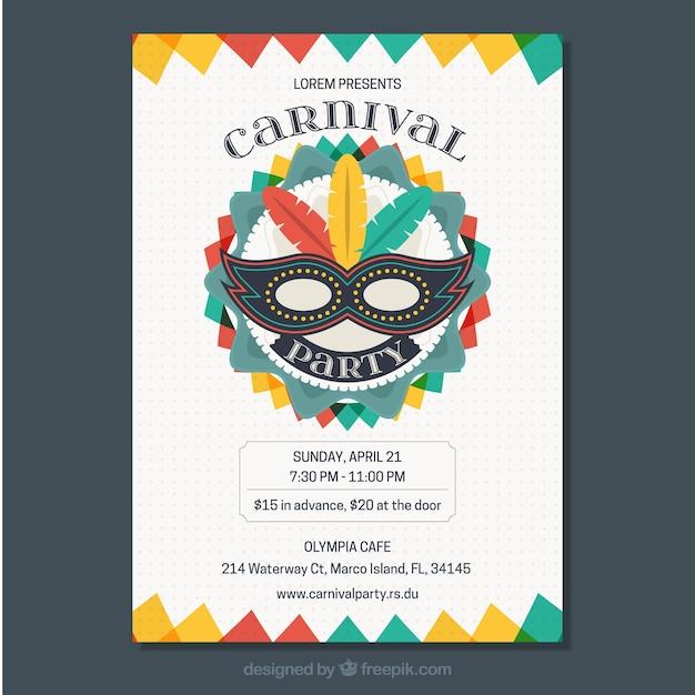 Bunte Karneval Flyer Vorlage Download Der Kostenlosen Vektor