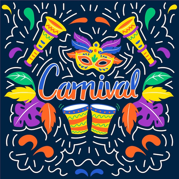 Bunte karnevalshand gezeichnet Kostenlosen Vektoren