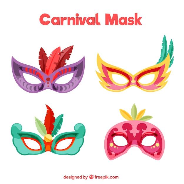 Bunte karnevalsmasken mit federn Kostenlosen Vektoren