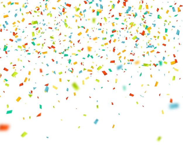 Bunte konfetti fallen nach dem zufallsprinzip. abstrakter hintergrund mit fliegenden partikeln Premium Vektoren
