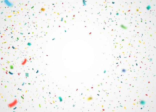Bunte konfetti fliegen nach dem zufallsprinzip. abstrakter hintergrund mit explosionsteilchen Premium Vektoren