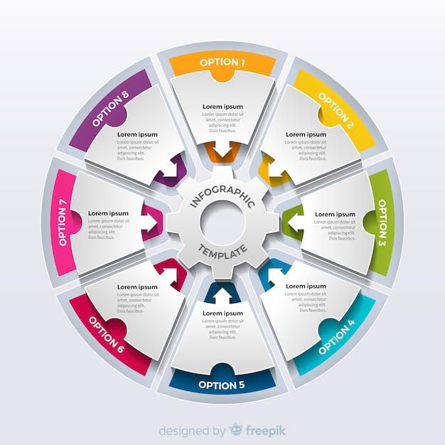 Bunte kreisförmige infographic schritte Kostenlosen Vektoren