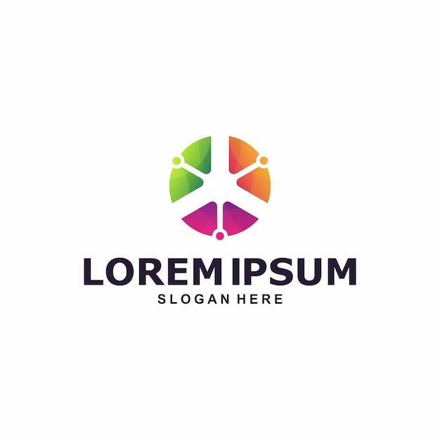 Bunte kreiszusammenfassungs-logoschablone Premium Vektoren