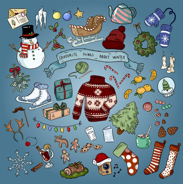 Bunte kritzeleien der weihnachtswinterfavoriten. Premium Vektoren