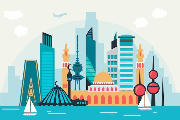 Bunte kuwait-skyline Kostenlosen Vektoren
