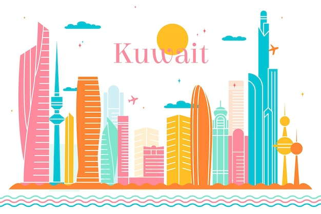 Bunte kuwait-skylineillustration Kostenlosen Vektoren