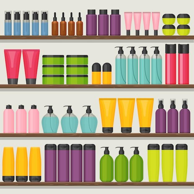 Bunte ladenregale mit kosmetischen flaschen Premium Vektoren