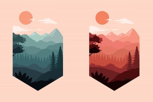 Bunte landschaftsschattenbildillustration Premium Vektoren