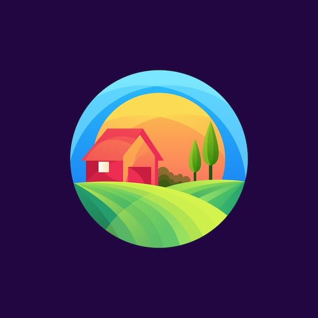 Bunte landwirtschaftslogoschablone Premium Vektoren