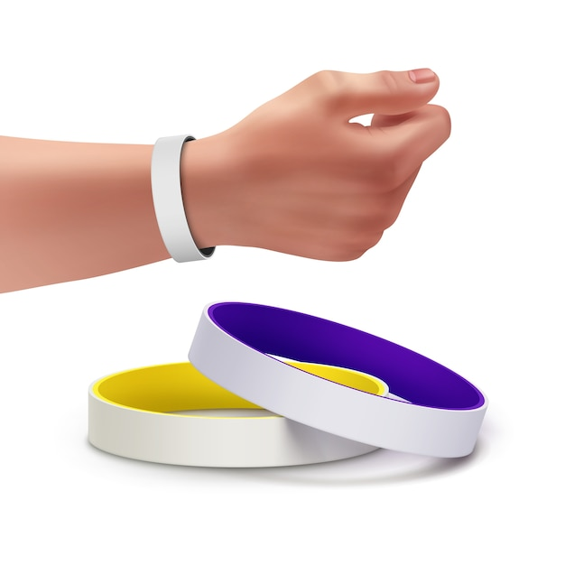 Bunte leere gummiarmbänder und armband an der hand Kostenlosen Vektoren