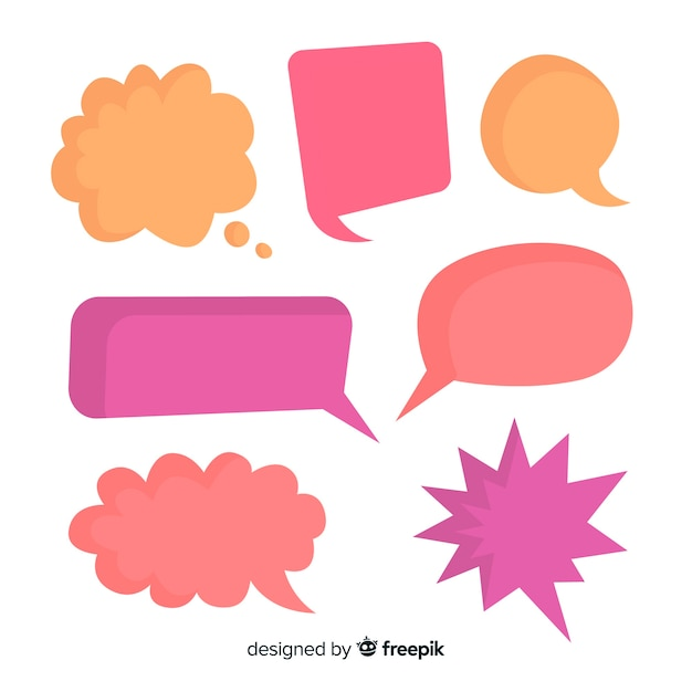 Bunte leere komische spracheblasenmischung Kostenlosen Vektoren