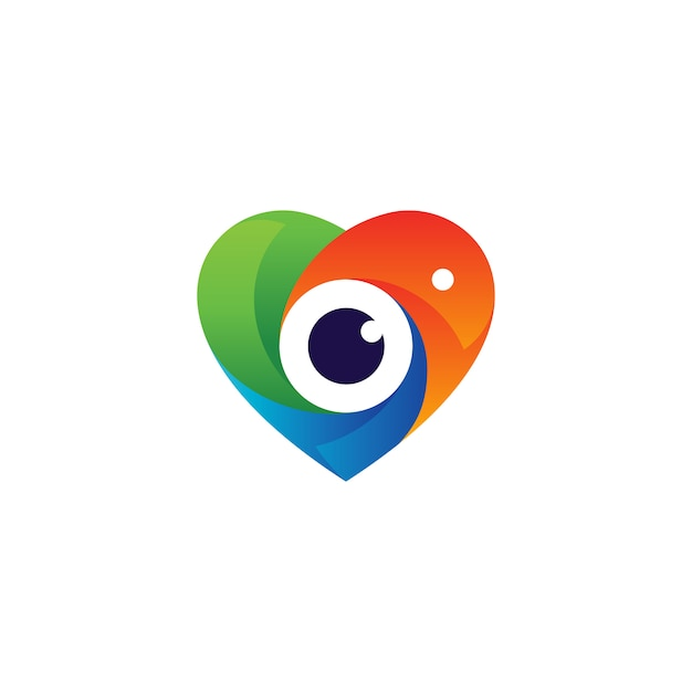 Bunte liebe und linse für fotografie logo design Premium Vektoren