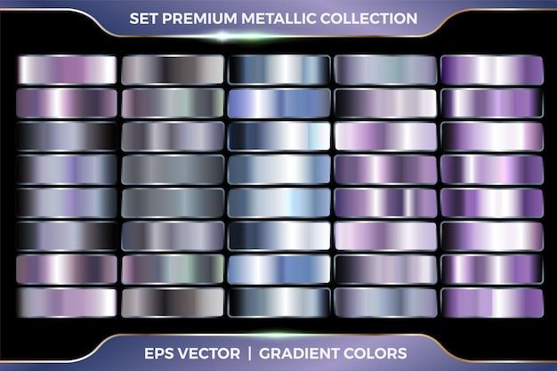 Bunte lila und azurblaue sammlung von farbverläufen großer satz metallischer silberpalettenschablone Premium Vektoren