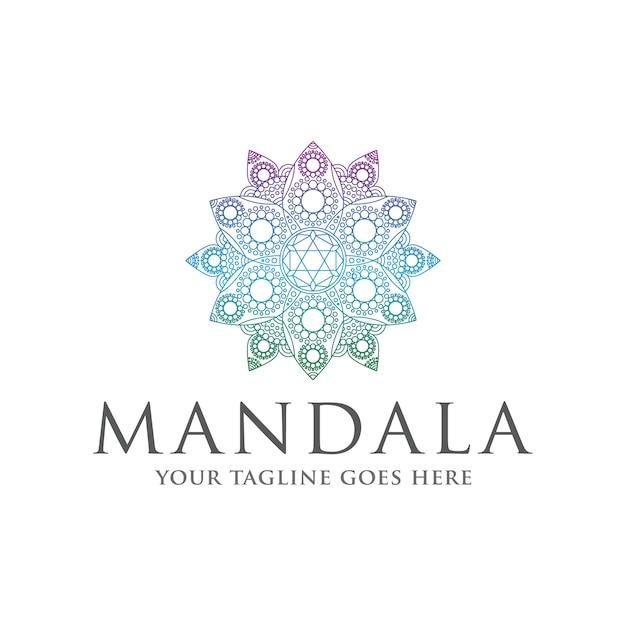 Bunte logovorlage des mandala zen Premium Vektoren
