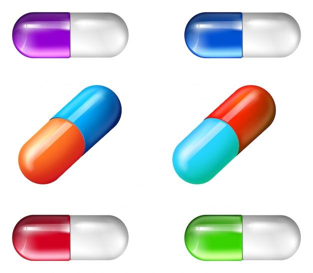 Bunte medizinische pillen Kostenlosen Vektoren