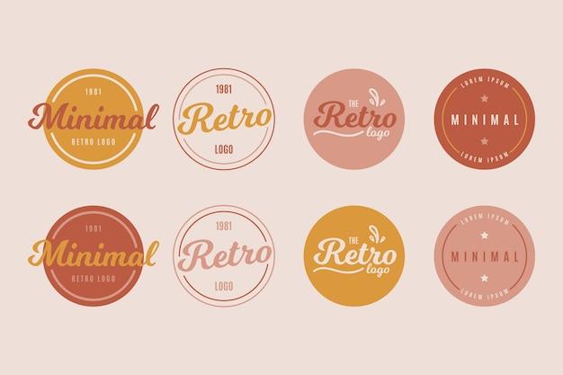Bunte minimale logosammlung im retrostil Kostenlosen Vektoren