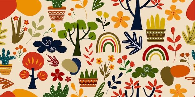 Bunte moderne hand gezeichnete illustrationskritzeleien abstrakte horizontale blumen- und pflanzensammlung auf nahtlosem muster Premium Vektoren