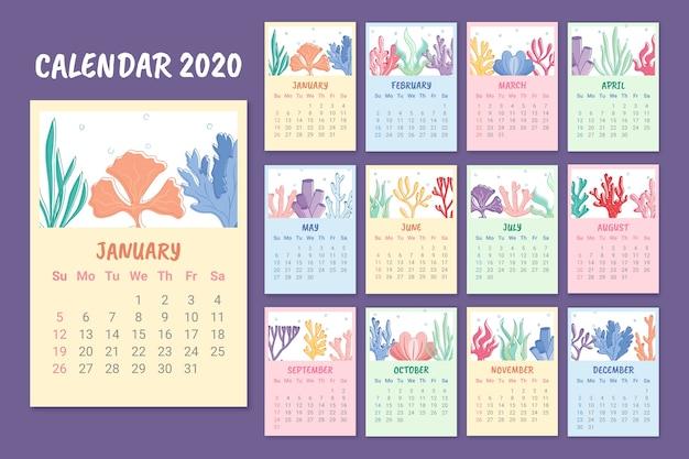 Bunte monatliche 2020 kalendervorlage Kostenlosen Vektoren