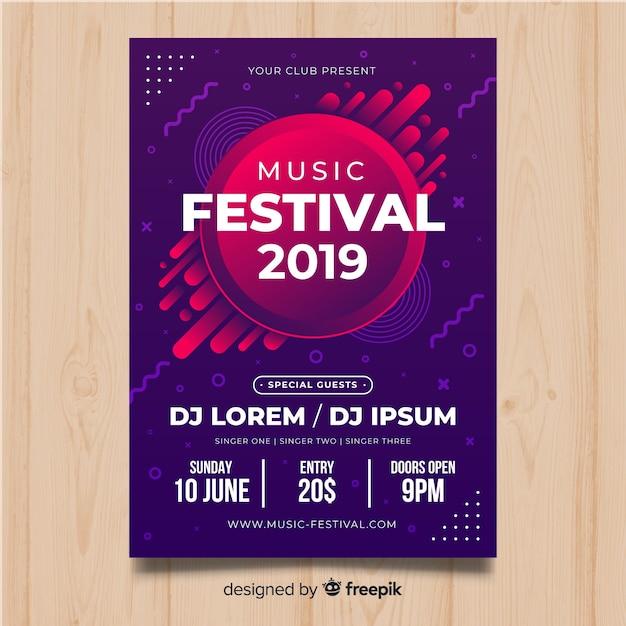 Bunte musikfestival-plakatschablone Kostenlosen Vektoren