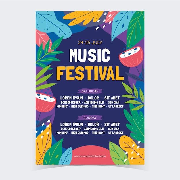 Bunte musikfestivalplakatschablone Kostenlosen Vektoren