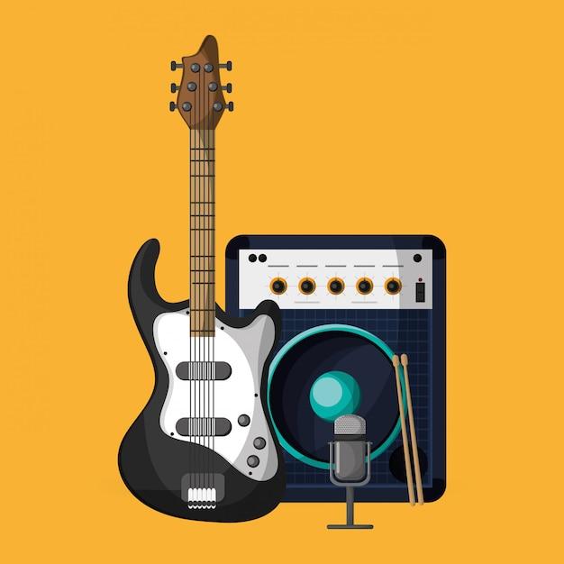 Bunte musikikonenillustration Premium Vektoren