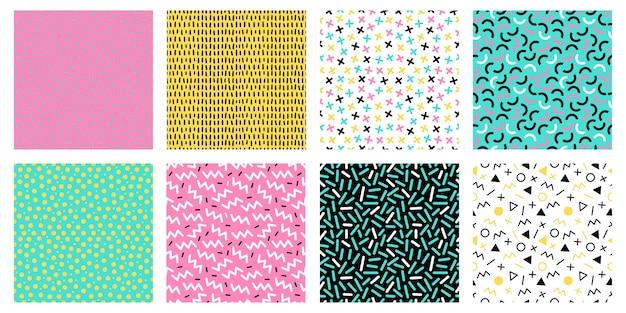 Bunte nahtlose muster von memphis. mode 80er mosaik textur, farbe retro-texturen und geometrische linien und punkte muster Premium Vektoren