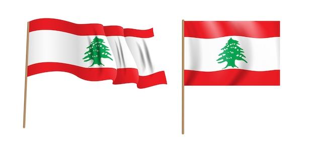 Bunte naturalistische libanesische republik wehende flagge. Premium Vektoren