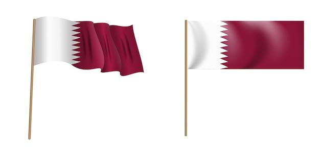 Bunte naturalistische wehende flagge des staates katar Premium Vektoren