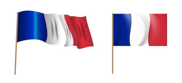 Bunte naturalistische wehende flagge von frankreich. Premium Vektoren