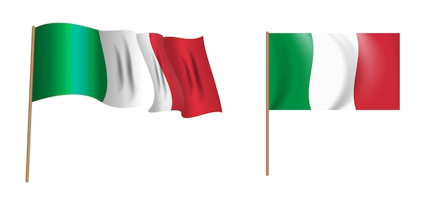 Bunte naturalistische wehende flagge von italien. Premium Vektoren