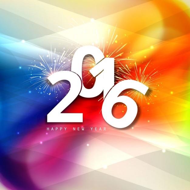 Bunte neue Jahr 2016 Gruß | Download der kostenlosen Vektor